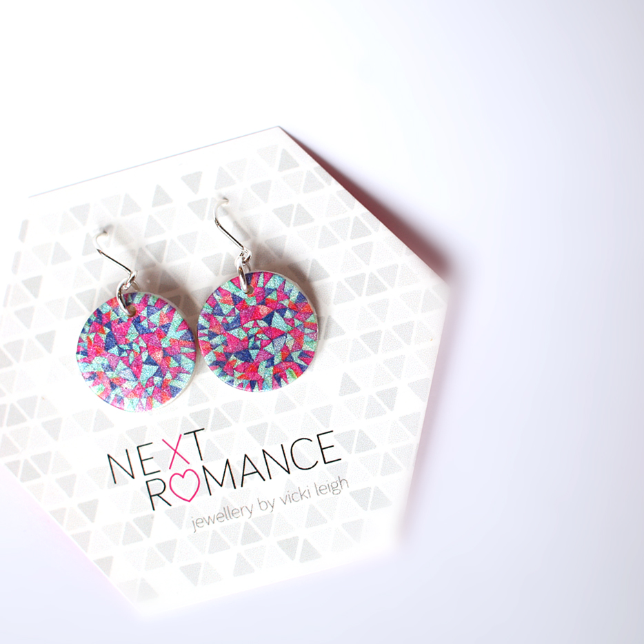 magenta peace mandala earrings