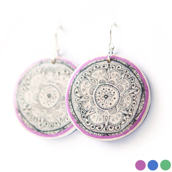 HENNA mandala art earrings unique – 3 colours