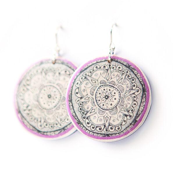 HENNA mandala art earrings unique – 3 colours