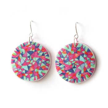 Stunning pair of handmade earrings with unique Mandala triangles illustration. Magenta and tealy blues for summer!  Original print on lightweight polyresin