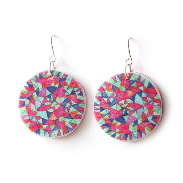 MANDALA triangle earrings – magenta blues