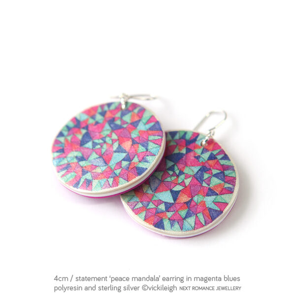 magenta-peace-mandala-art-earrings-vicki-leigh-next-romance-4cm-statement