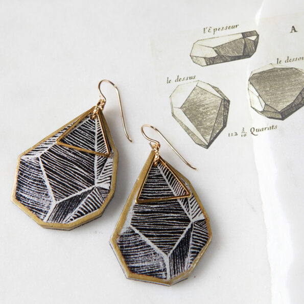 rock art earrings black white lines with inspo sketch vintage NEXT ROMANCE jewellery