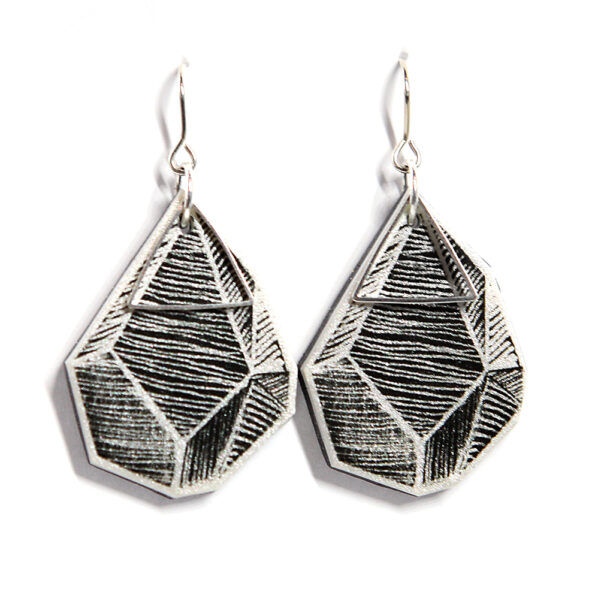 ROCK ART triangle earrings – white lines