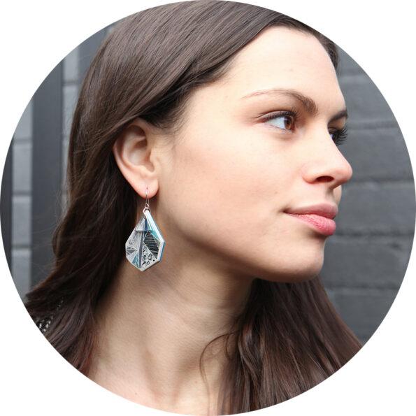 Julz teal snowflake earring next romance jewellery australia
