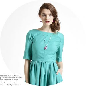 Libby Dress Aqua front DEVOI NEXT ROMANCE necklace