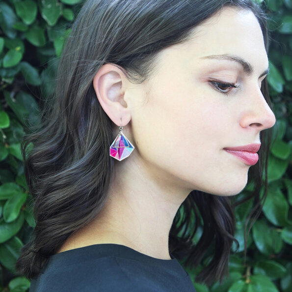 PINK triangle art earrings Next-Romance-Jewellery-Australia model julz