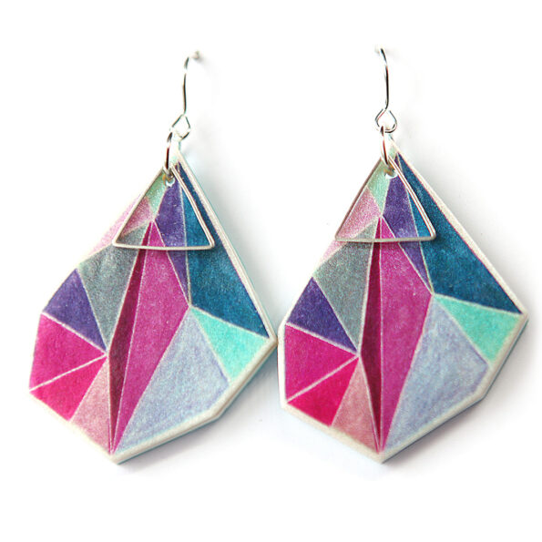 Triangle art earrings – pink teal