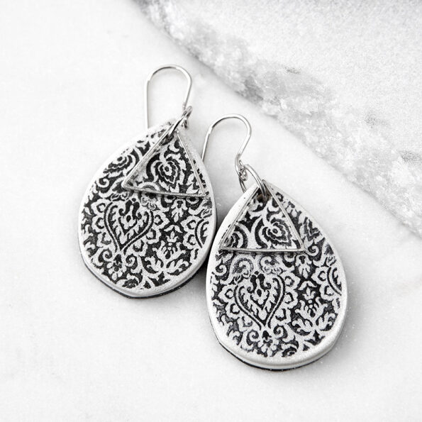 black white teardrop textured art morocco earring wedding bridesmaid gift NEXT ROMANCE unique jewellery australia