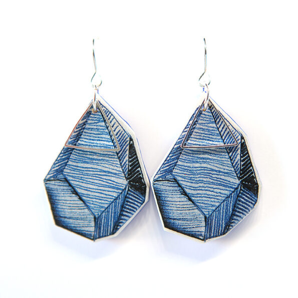 ROCK ART triangle earrings – blue lines