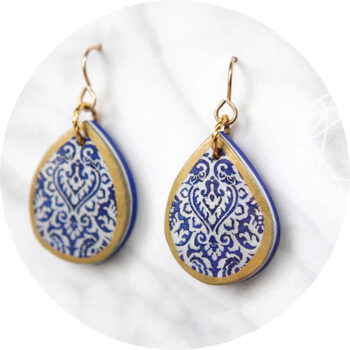 blue petite crop morocco teardrop art earring