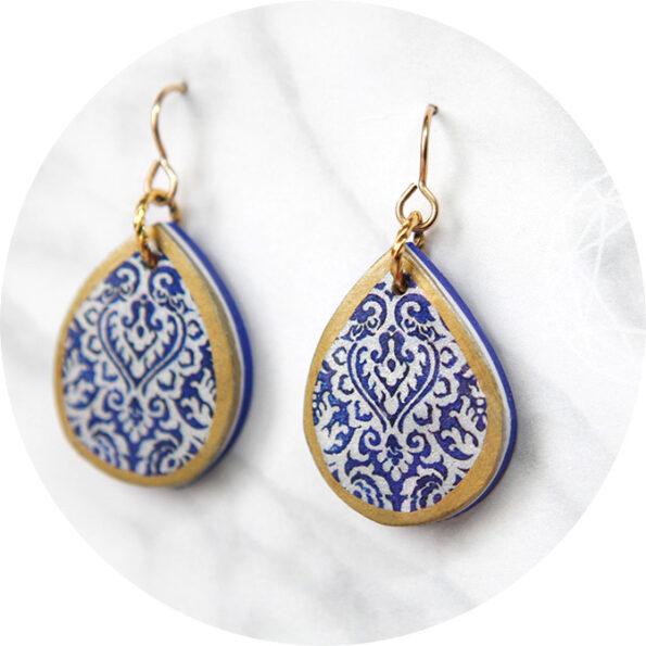 TEARDROP morocco lace art earrings – blue moroccan