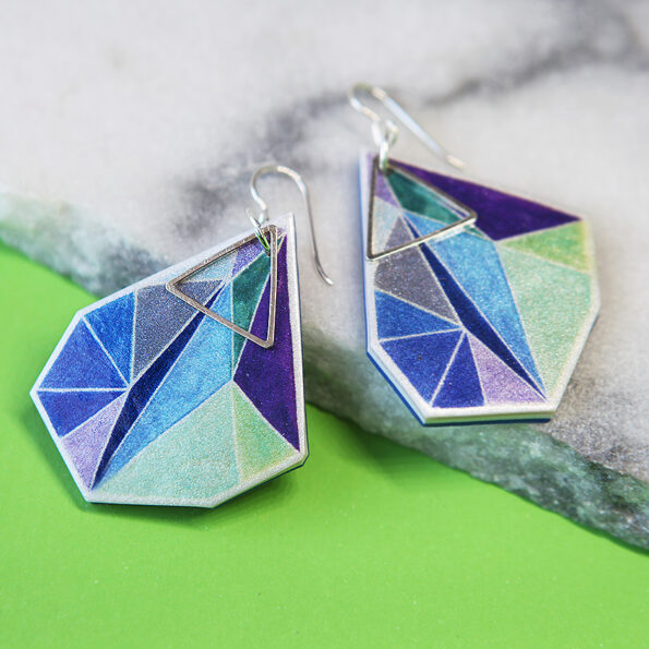 _ signature NRJ TRIANGLE art earrings – blue greens