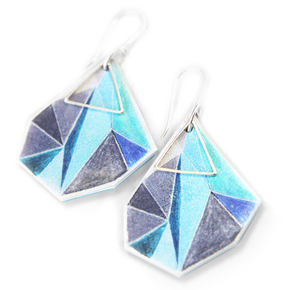 _TRIANGLE art earrings – cyan