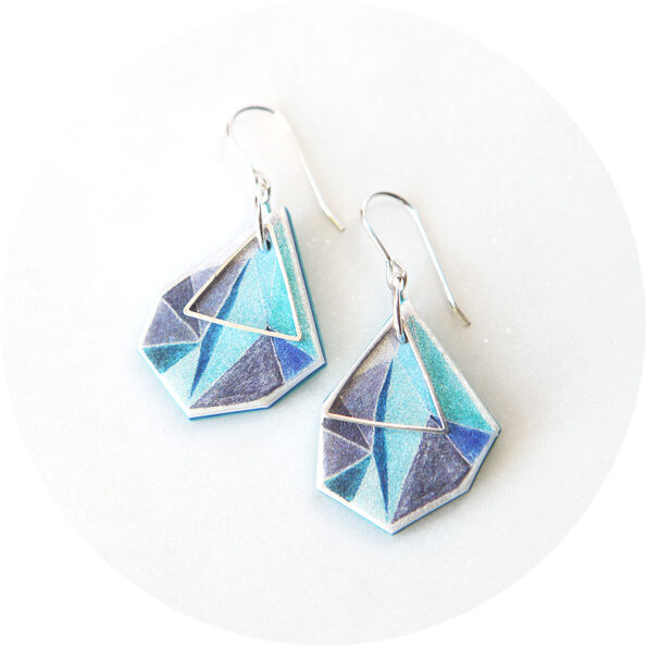 cyan blue triangle art earrings next romance jewellery
