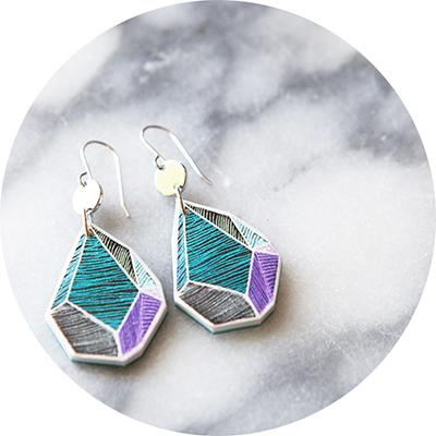 e purple teal rock art earring 3cm PIC next romance