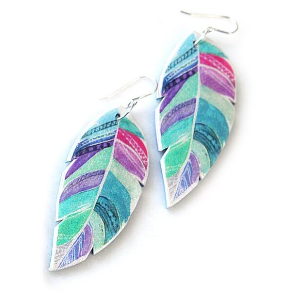 FEATHER boho art earrings – purple green BLISS WATERCOLOUR