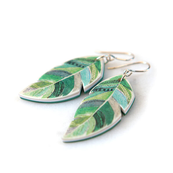 feathered romance watercolour art earrings green