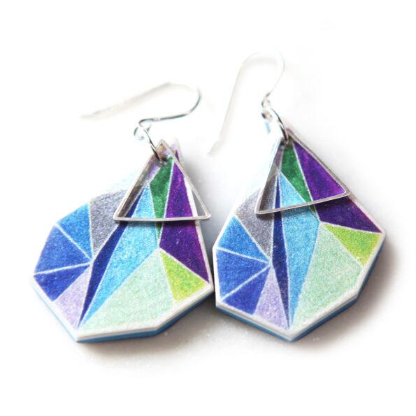 _signature NRJ TRIANGLE art earrings – blue greens