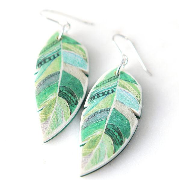 WATERCOLOUR FEATHER art earrings – green HEART