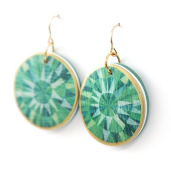 unique green starburst design earrings made in australia designed in melbourne by vicki leigh jewellery