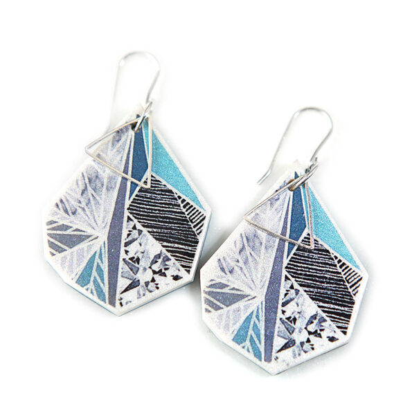 SNOWFLAKE art earrings – teal green grey