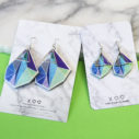 green blue purple triangle art earrings NEXT ROMANCE unique art jewellery green bgd