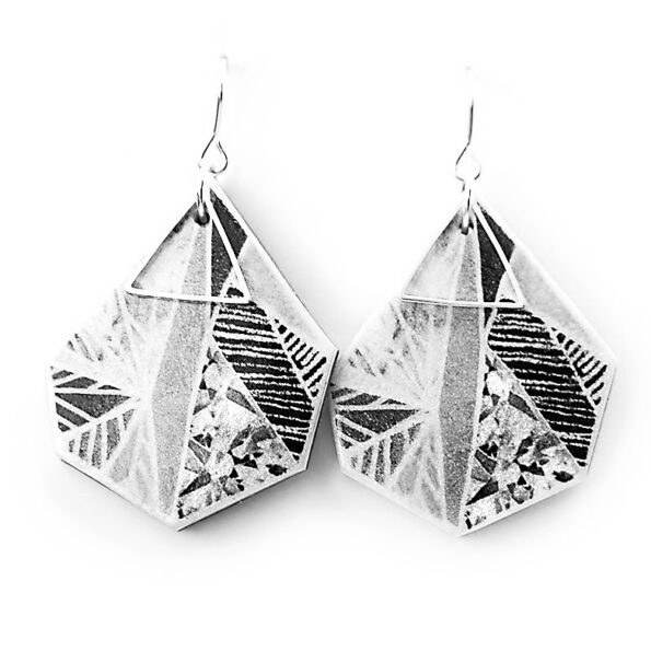 SNOWFLAKE art earrings – black grey