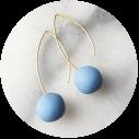 handmade-silver blue ball-earrings-colour-gold