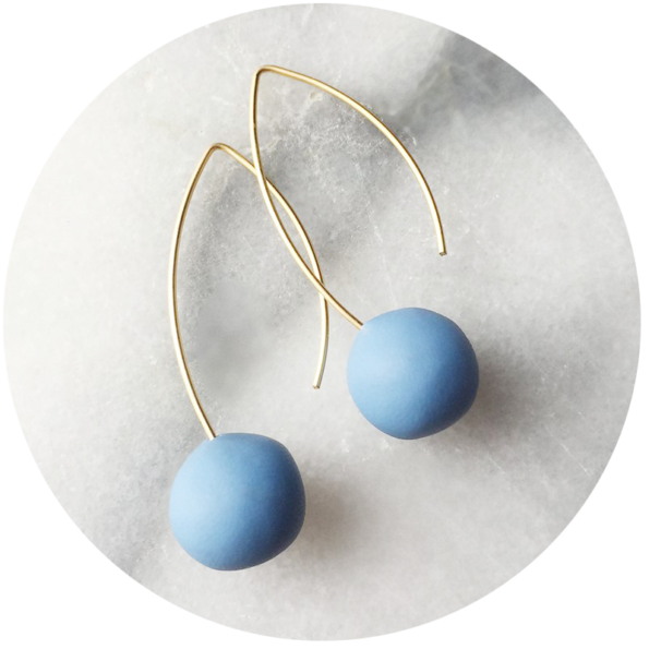handmade-silver blue ball-earrings-colour-gold