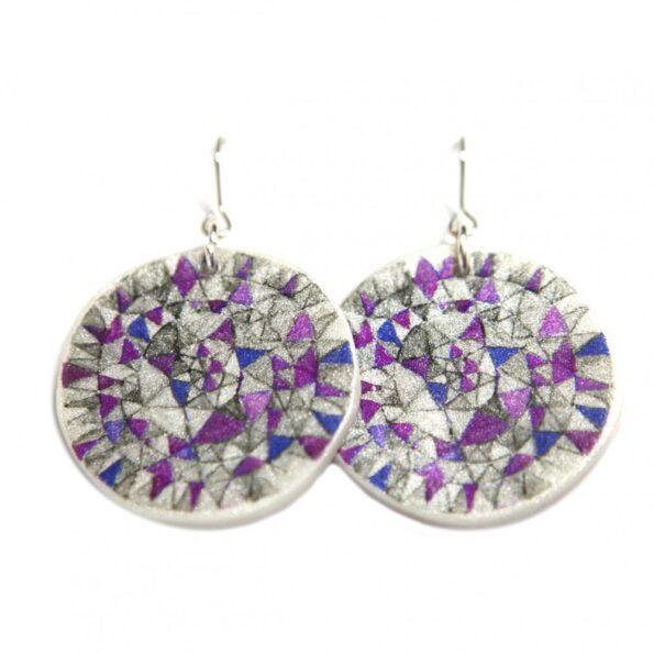 MANDALA triangle earrings – purple sketch