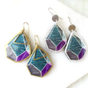 new next romance triangle ROCK ART unique earrings teal purple grey line