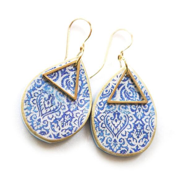TEARDROP moroccan lace art earrings – blue