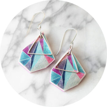 ocean triangle-art-earrings-small-25mm-rose-teal-vicki-leigh-jewellery-australia