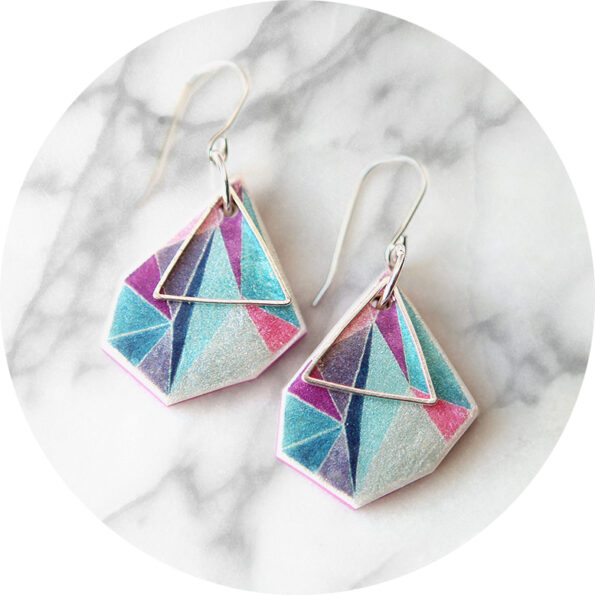 Triangle art earrings – ocean rose