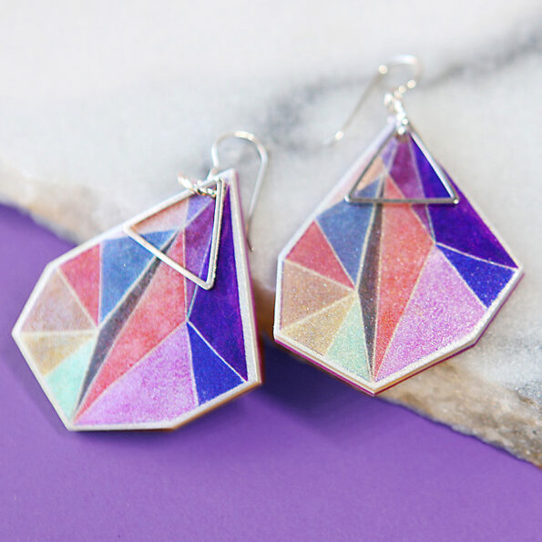 _signature Triangle art earrings – lilac orange pink – choose size and finish