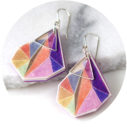 orange triangle art earrings silver