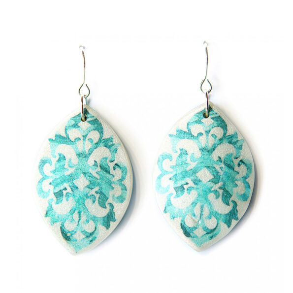 BAROQUE marquis art earrings – paint me teal