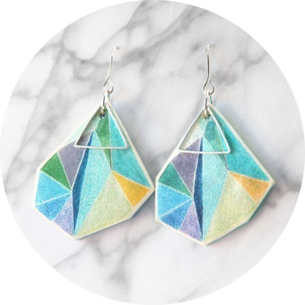 Triangle art earrings – lime teal