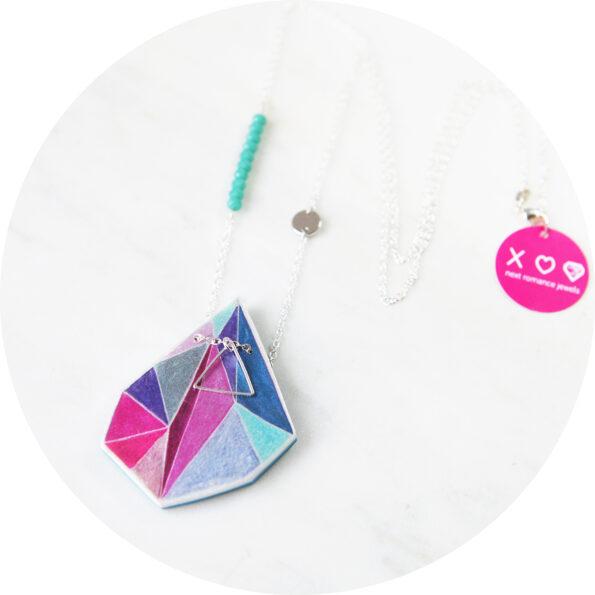 petite pink art triangle necklace next romance melbourne