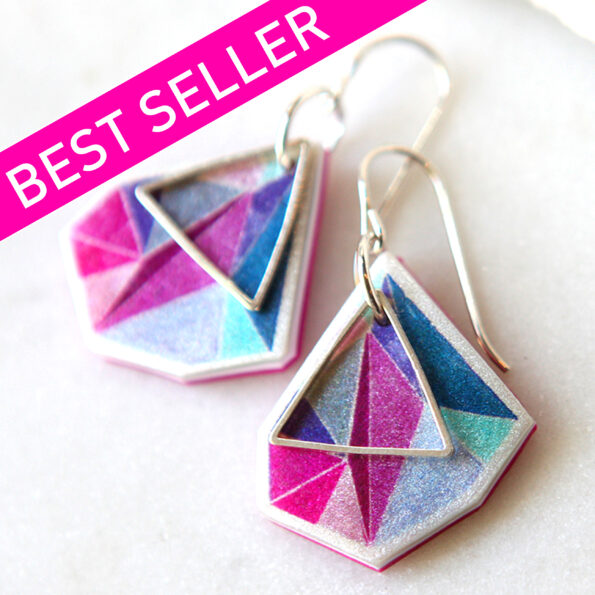 _signature Next Romance TRIANGLE ART earrings – pink teal – choose size and finish
