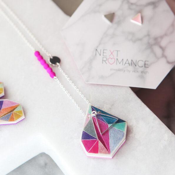 pink teal triangle art necklace handmade next romance art jewellery australia