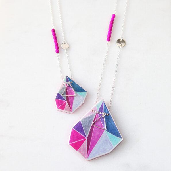 pink teal triangle art necklaces-australian designer