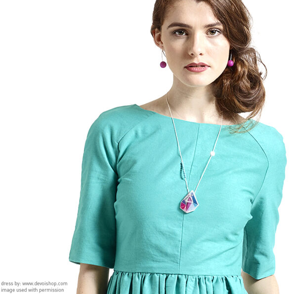 pink triangle Next romance necklace Libby Dress Aqua front DEVOI