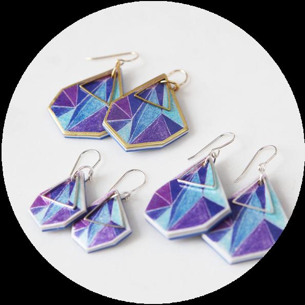 purple 3 sizes-traingle-art-earrings