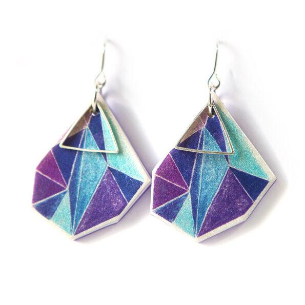 Triangle art earrings – purple blue