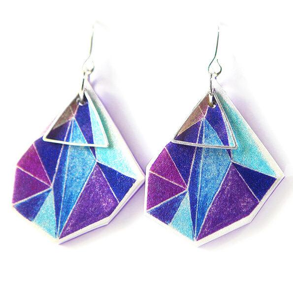_ signature Triangle art earrings next romance – purple blue