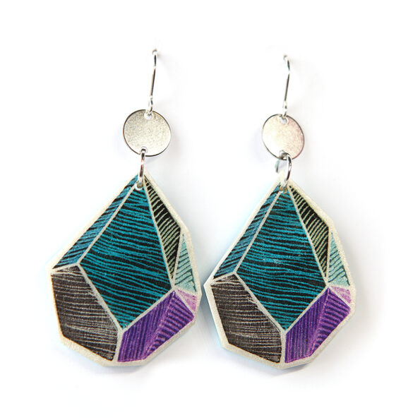 ROCK ART triangle line art earrings – teal purple