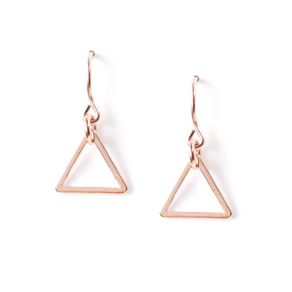 rose gold triangle earrings NEXT ROMANCE jewellery