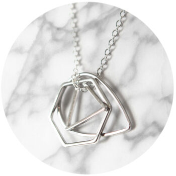 shapes necklace silver hexagon triangle NEXT ROMANCE cluster 3